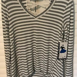 NWT Society Girl gray/ivory striped top w/lace M